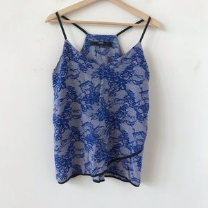 Cut 25 blue and white silk racer back tank